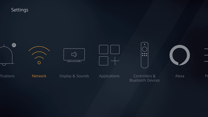 FireTV settings screen with Network option highlighted.