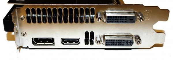 Back of a video card showing the connectors