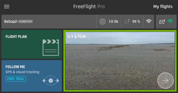 Fly & Film are highlighted in FreeFlight Pro app.
