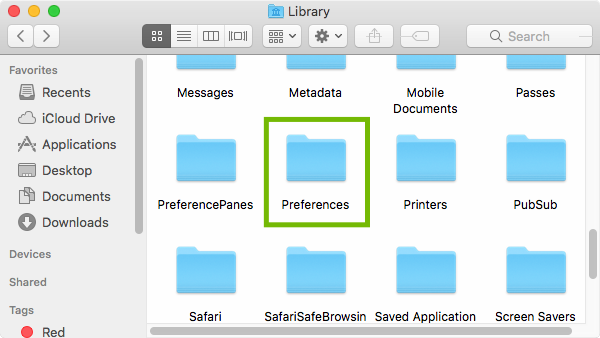 Home Library with Preferences highlighted.