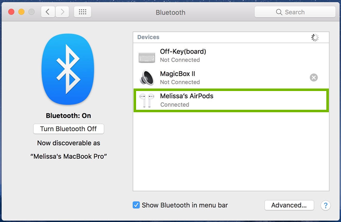 macOS Bluetooth window highlighting a successfully connected AirPods device.