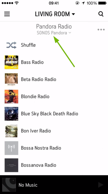 Placement of account switching option for music service