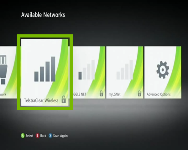 Network Settings with example Wi-Fi network selected. Screenshot.