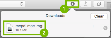 Sarari download drop down menu with download button and downloaded driver highlighted.