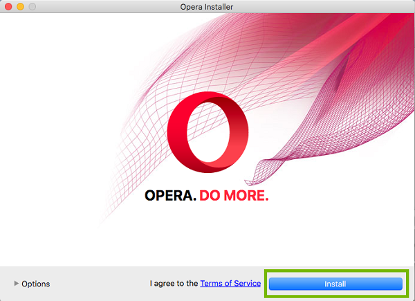 Opera install window with Install highlighted. Screenshot