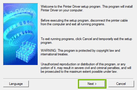 Printer software setup welcome screen.