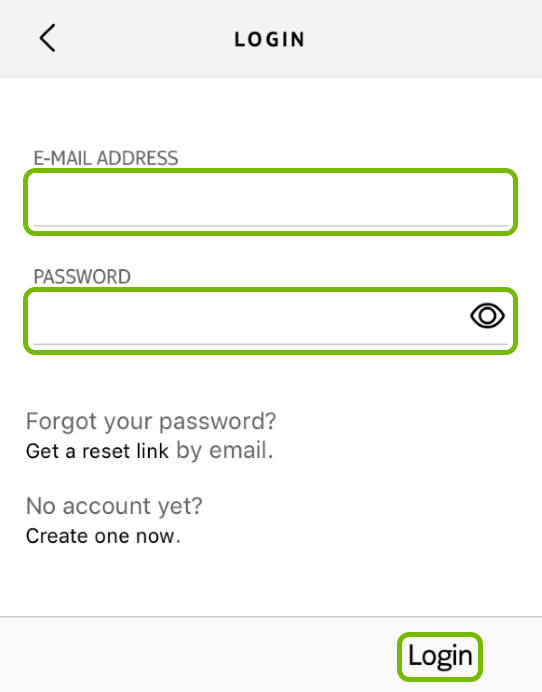 E-mail Address and Password fields, and Login option highlighted in Withings Health Mate app.