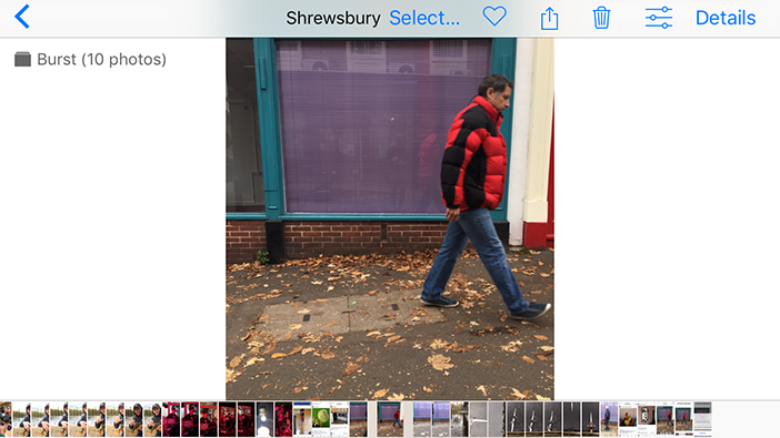 iOS burst mode stack of photos