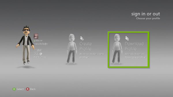 Download Profile option highlighted in Social menu on Xbox 360.