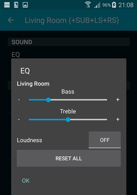 Sonos Equalizer settings