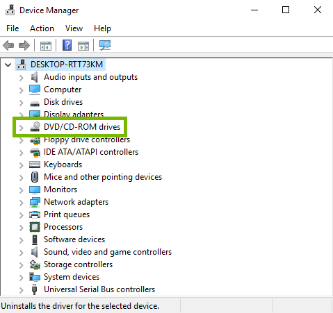 DVD/CD-ROM drives group highlighted in Windows device manager.