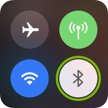 Bluetooth icon highlighted in iOS control center.