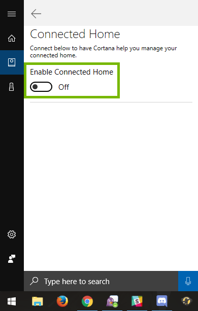 Enable Connected Home feature highlighted in Cortana menu.