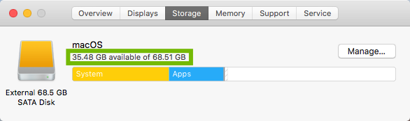 Storage dialog with space use highlighted.