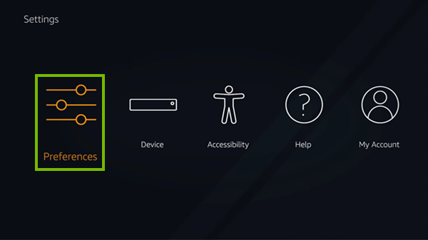 Preferences selected in Fire TV settings.