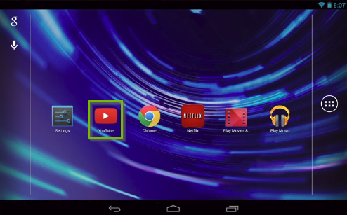 Android home screen highlighting the YouTube app.