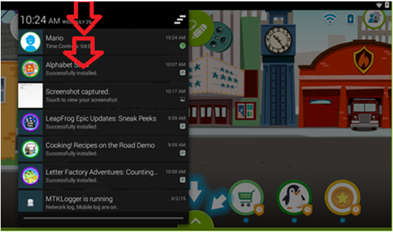 Screenshot of the LeapFrog Epic's interface highlighting the need to swipe downward from the top left of the screen.