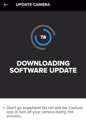 GoPro app processing available updates.