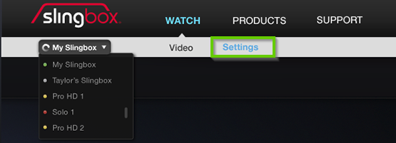 Settings option highlighted on Slingbox main page.