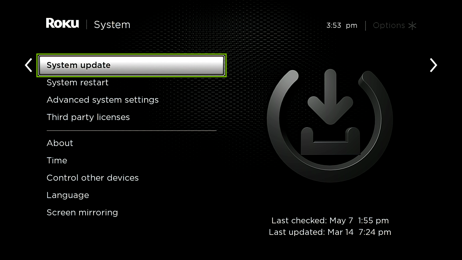 System with System update highlighted.