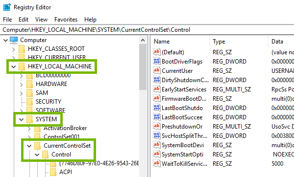 Keys to be expanded highlighted in Windows Registry.