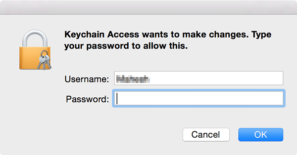 Pop-up requesting user to type in credentials.