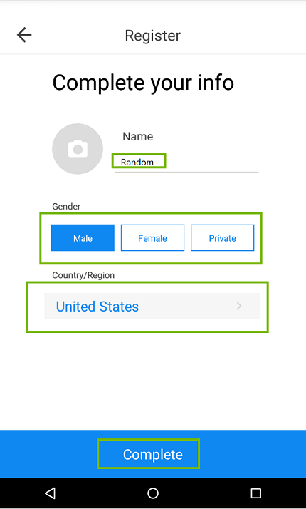 Final registration page with Name Gender and Country highlighted. Screenshot