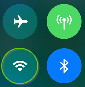 iOS control center with Wi-Fi off