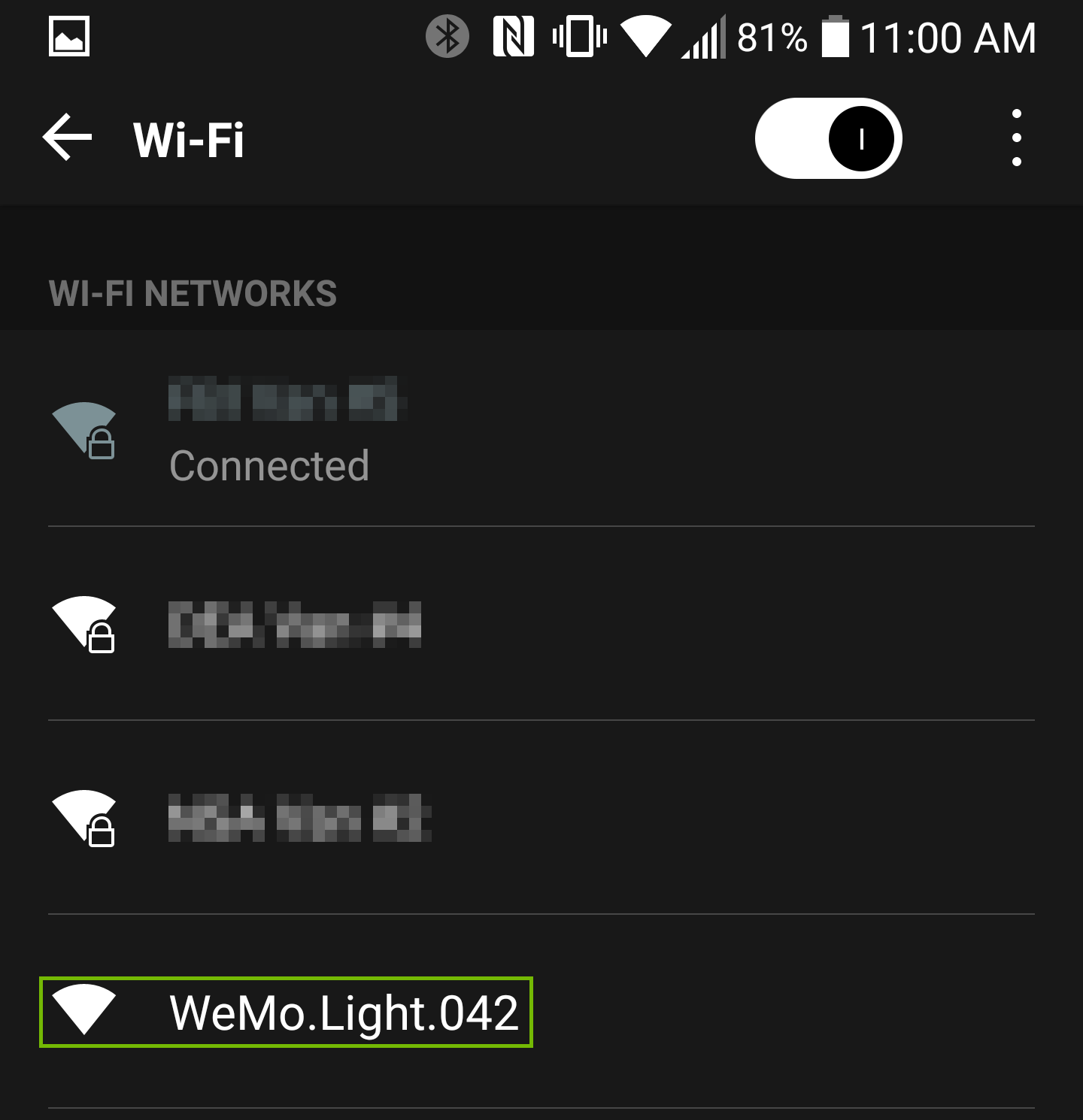 Wi-Fi Network list with WeMo network highlighted.