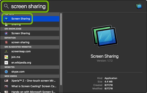 Search for screen sharing with search and application highlighted.