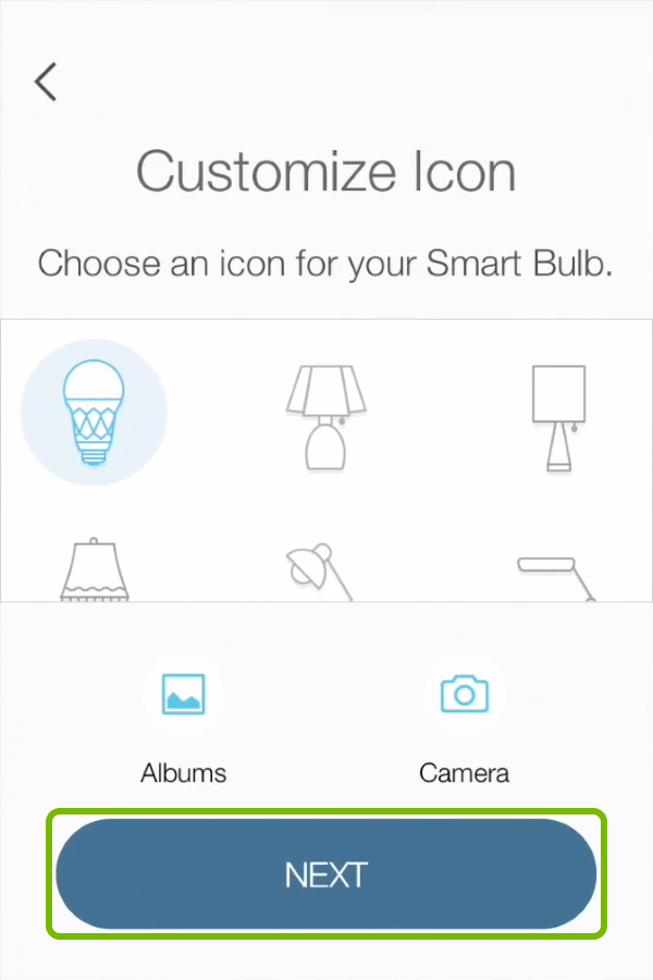 Next option highlighted on icon selection screen in Kasa app.