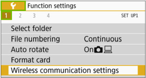 Function settings with the wrench and the submenu 1 highlighted