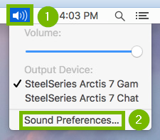 Screenshot of speaker menu selected with Sound Preferences highlighted.
