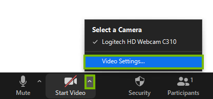 The start video button with the arrow selected
