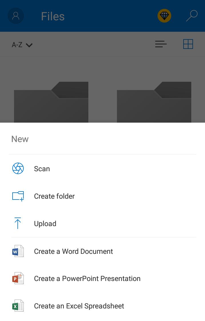 Microsoft onedrive menu