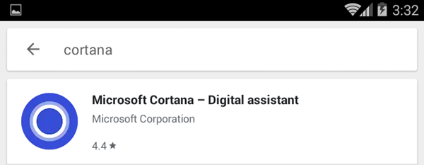 Cortana search results