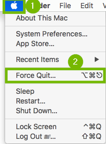Apple menu with Force Quit highlighted.