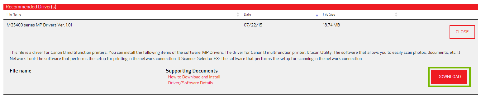 Selected driver download page with Download button highlighted.