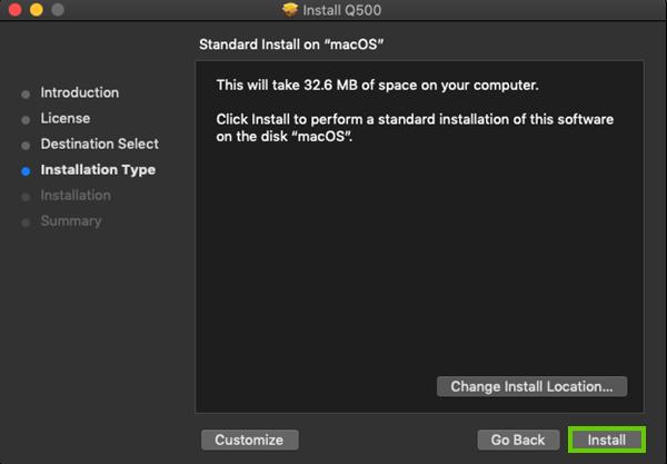 Clicking install
