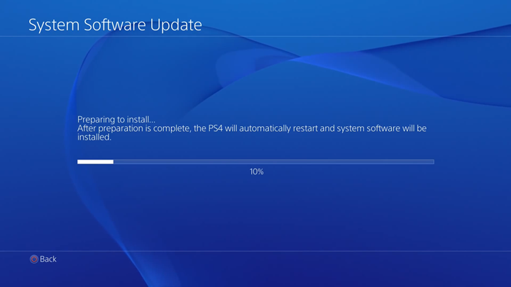 Install preparation in progress on System Software Update screen.