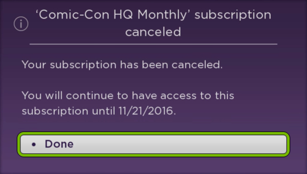 Done option highlighted after cancelling subscription for selected app on Roku.