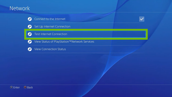 Network menu with Test Internet Connection highlighted.
