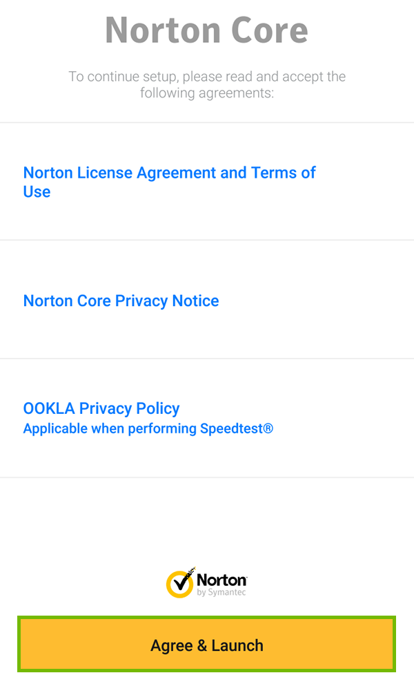 License Agreement, Terms of Use, Privacy Notice, and Privacy Policy link screen with Agree & Launch highlighted.