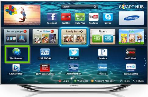 Samsung smart tv smart hub menu showing the web browser