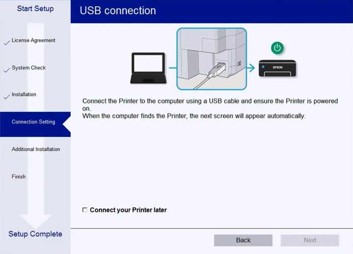 Printer USB cable connection screen.