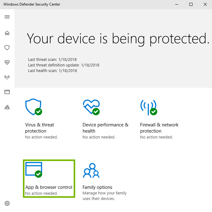 Screenshot of windows defender with app and browser control highlighted