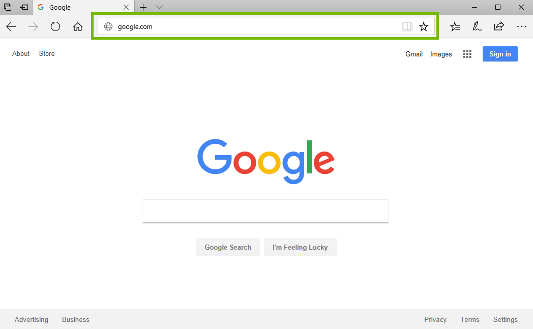 screenshot of browser with address bar highlighted