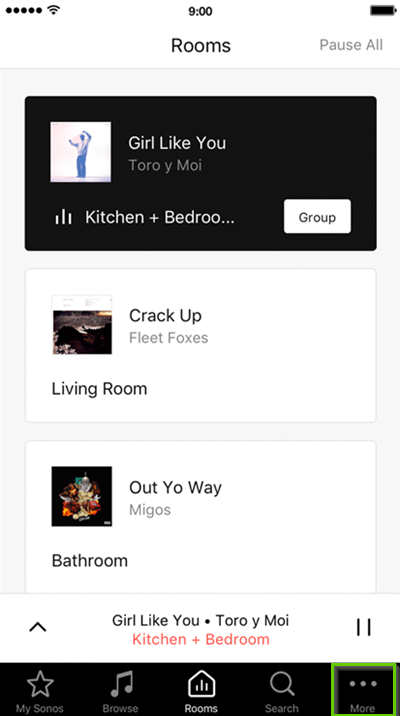 Sonos App with more tab