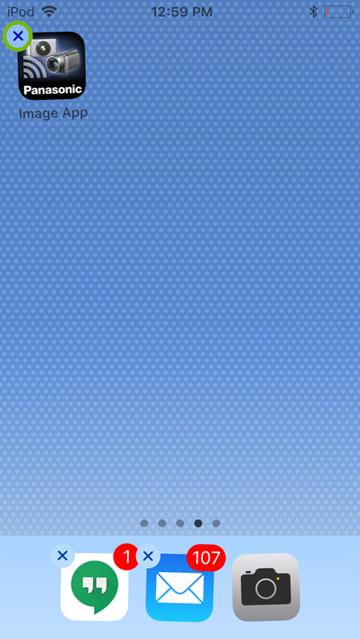 iOS mobile app delete option