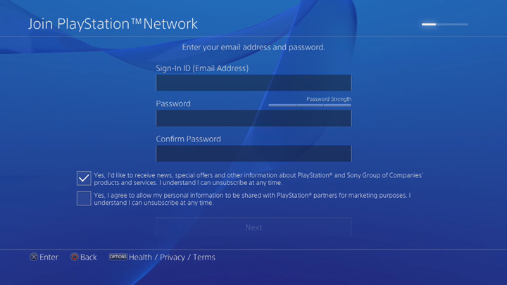 PlayStation Network email and password entry screen.